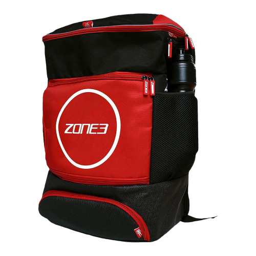 Best gym bag ZONE3 product image of a red and black backpack