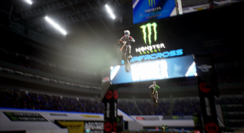 Jumping into the air in Monster Energy Supercross 3