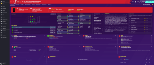 Alexander-Arnold's starting Football Manager 2020 attributes and information.
