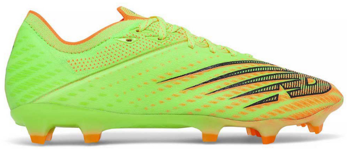 Best football boots New Balance product image of a singular bleached lime boot with orange accents