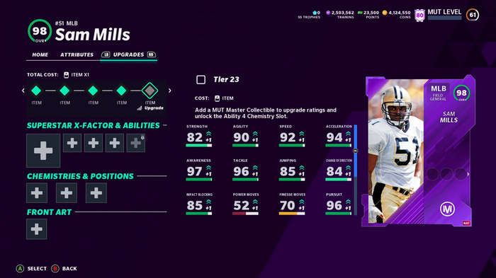 98 Overall Sam Mills Madden Ultimate Team 21 card and key stats