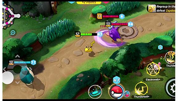 A scene from Pokemon Unite with Snorlax and Pikachu