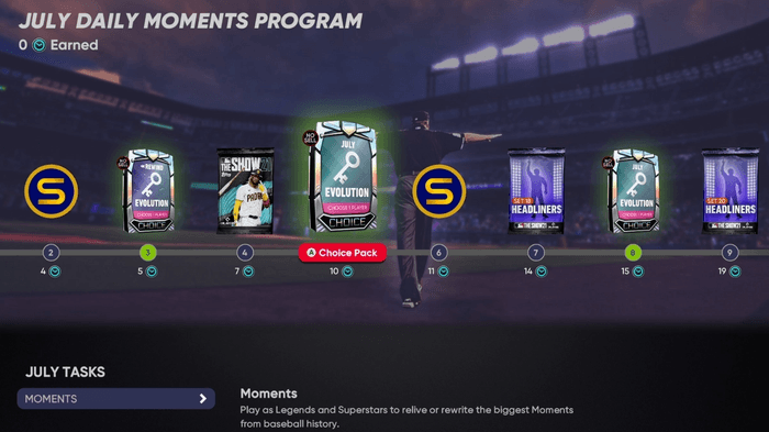 MLB The Show 21 July Daily Moments Program All Rewards How to Complete Which Evolution Player to Pick Choice Pack