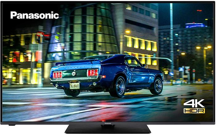 """Best TV for Sports Games Panasonic product image of a 50"""" TV with a car background being displayed"""