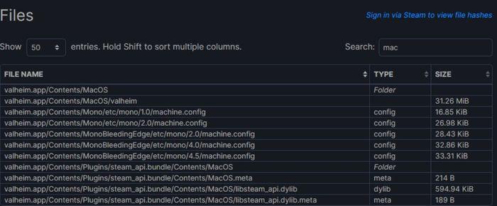 Valheim Mac Steam Database files