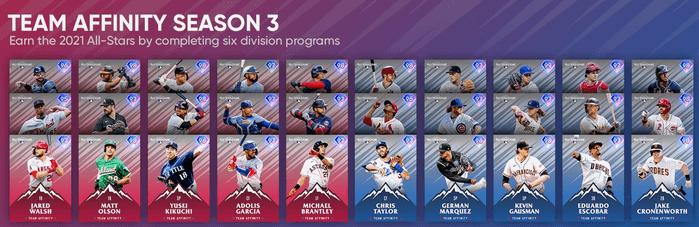 MLB The Show 21 Team Affinity Season 3 Team Diamonds All Players List