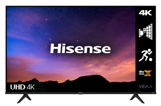 Best TV for Sports Games Hisense product image of a TV with a pink and blue night sky displayed
