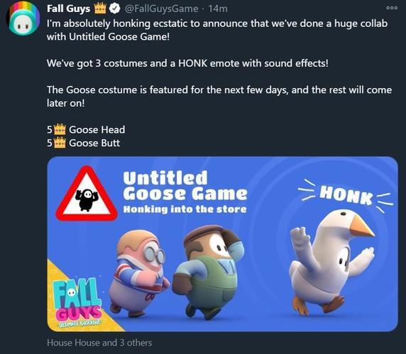 fall guys untitled goose game tweet