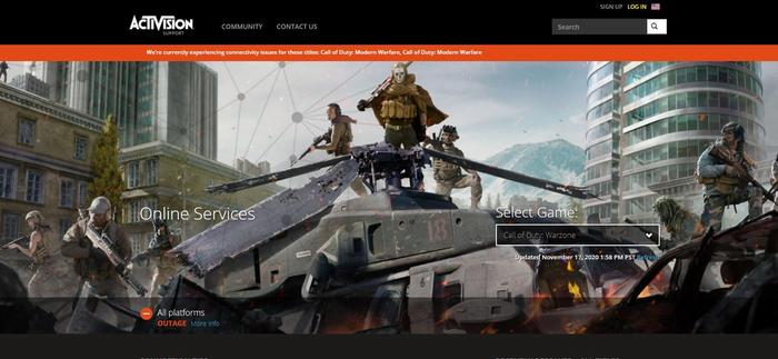 Activision's support site shows an outage across all platforms