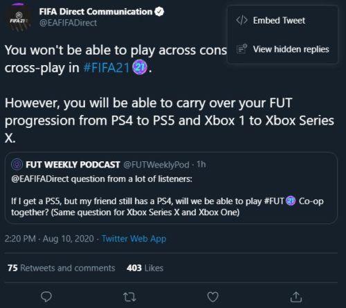 FIFA 21 cross-platform play