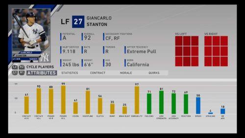 Giancarlo Stanton left field New York Yankees MLB The Show 20