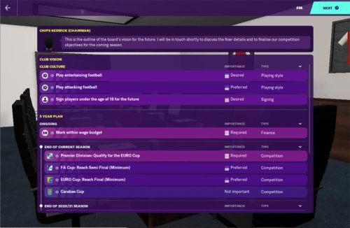Arsenal's club vision in Football Manager 2020