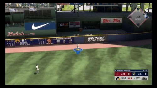 MLB The Show 20 fielding guide charging throw from outfield