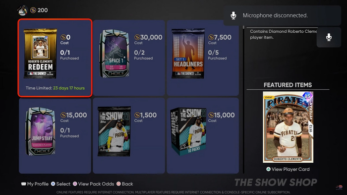 MLB The Show 21 Free Diamond Dynasty Roberto Clemente Pack