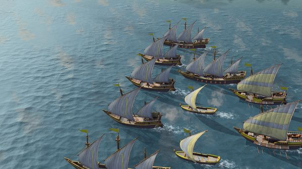 A photo snippet from Age of Empires 4 Civilizations showing ships heading to presumably a foreign island