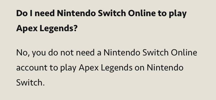 Apex Legends Switch Online subscription