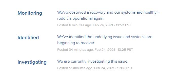 Reddit Server Issue Maintenance