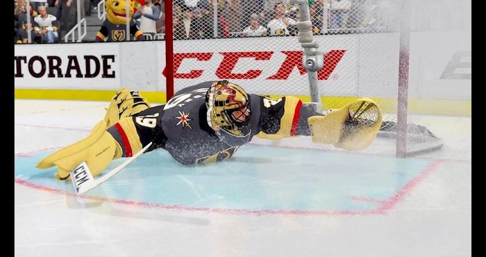 Golden Knights goalie Marc Andre Fleury makes an incredible save in NHL 22.