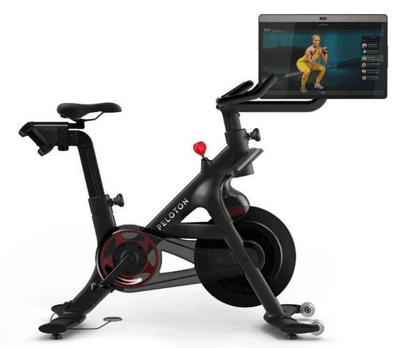 Best Exercise Bike Peloton product image with belt drive system and rotating HD screen