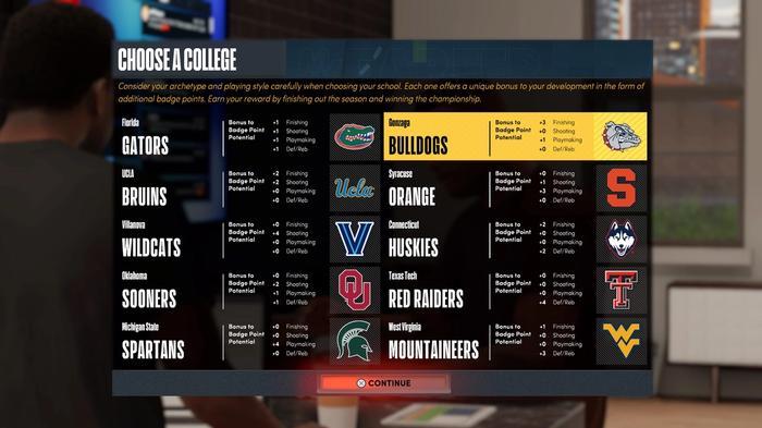 The NBA 2K22 MyCAREER school choice image