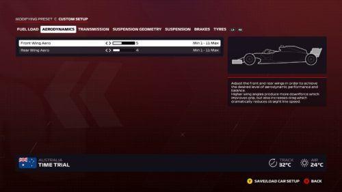 F1 2020 Setup Screen
