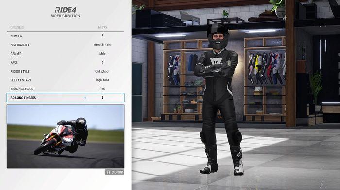 Ride 4 avatar player customisation screen career mode