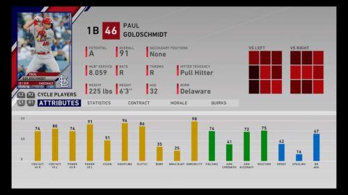 Paul Goldschmidt MLB The Show 20 best first basemen 1b rtts franchise mode march to october diamond dynasty