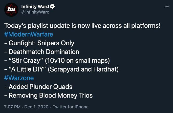 December 1st COD Warzone Modern Warfare Playlist Update