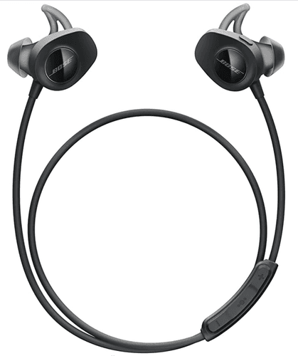 Best running headphones Bose product image of a pair of black headphones with a cable to wrap around your neck