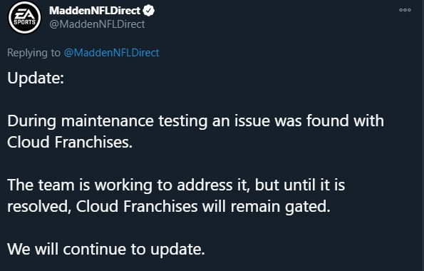 Madden 21 franchise mode down cloud saves issues title update