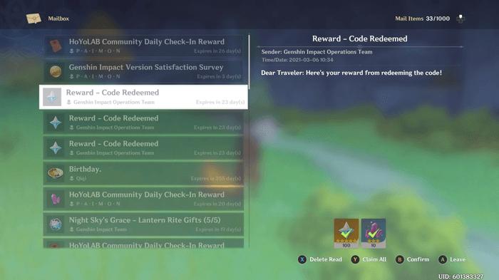 Genshin Impact in-game mailbox.
