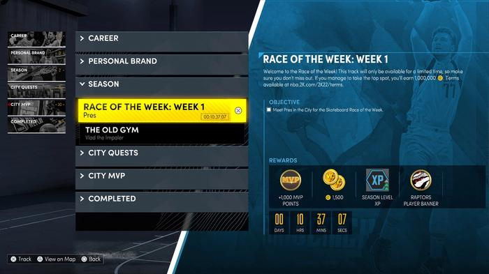 The rewards in NBA 2K22 for participating in the Race of the Week