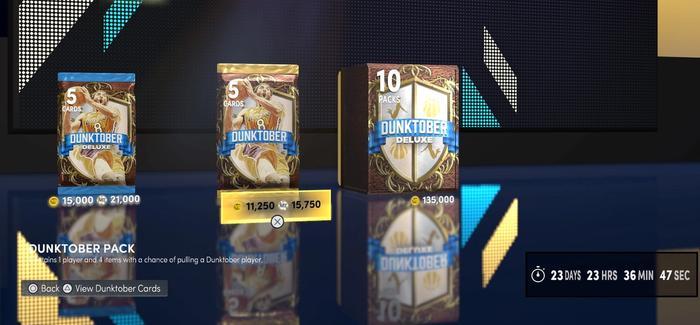 The dunktober packs in NBA 2K22