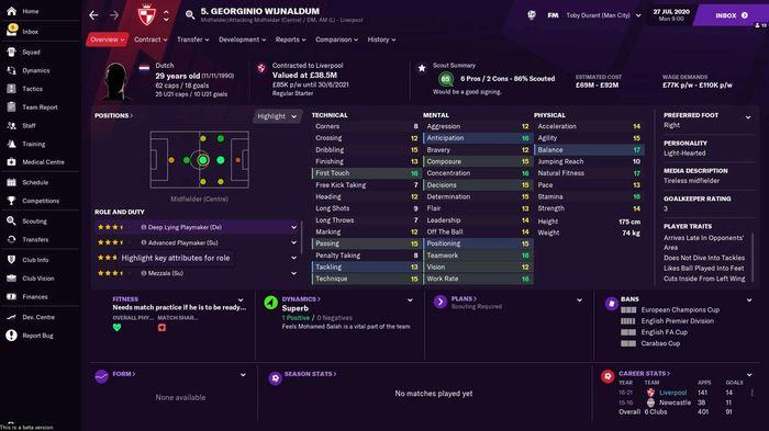 Georginio Wijnaldum's stats in Football Manager 2021