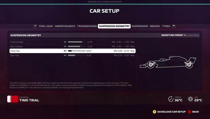 F1 2019 bahrain setup suspension geometry