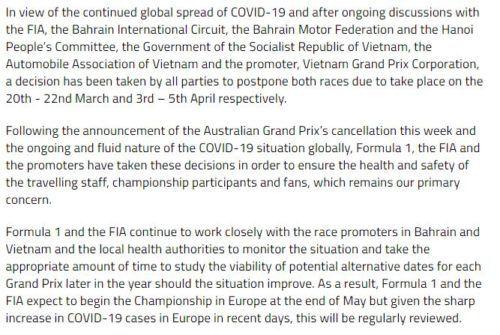 FIA statement Coronavirus 1