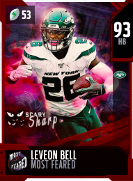 LeVeon Bell's 93 OVR Most Feared MUT card