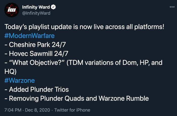 cod modern warfare was rzone december 8 playlist update