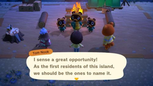 Tom Nook asking what you want to name your island.