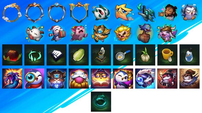 Image with icons for accessories to personalize your League of Legends Wild Rift profile.