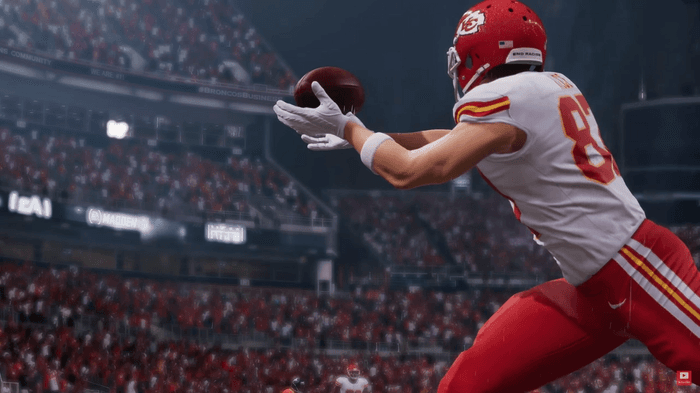 Travis Kelce catches a pass in Madden 22