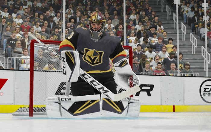 Golden Knights Goalie, Marc Andre Fleury waits in goal, preparing for a shot.