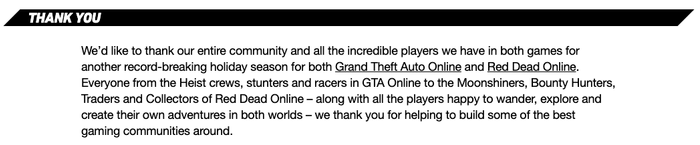 rockstar's thank you to fans