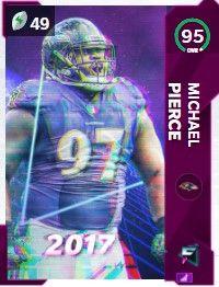 Michael Pierce flashbacks Madden ultimate team 95 OVR card