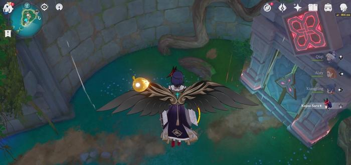 K. Sara gliding to the Palace in a Pool domain in Genshin Impact