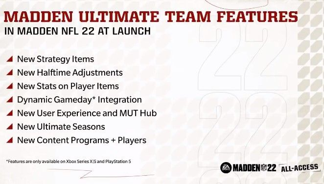 An image detailing the new features being added into Madden Ultimate Team in Madden 22