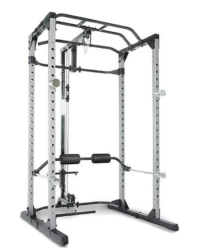 Best squat rack Fitness Reality product image of a silver power cage with pull-up bars and a lat pulldown attachment
