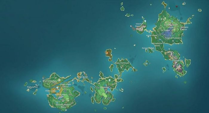 Genshin Impact 2.0 Inazuma Map