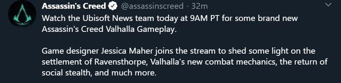 assassins creed live gameplay tweet