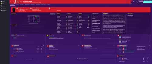 Mane's starting Football Manager 2020 attributes and information.